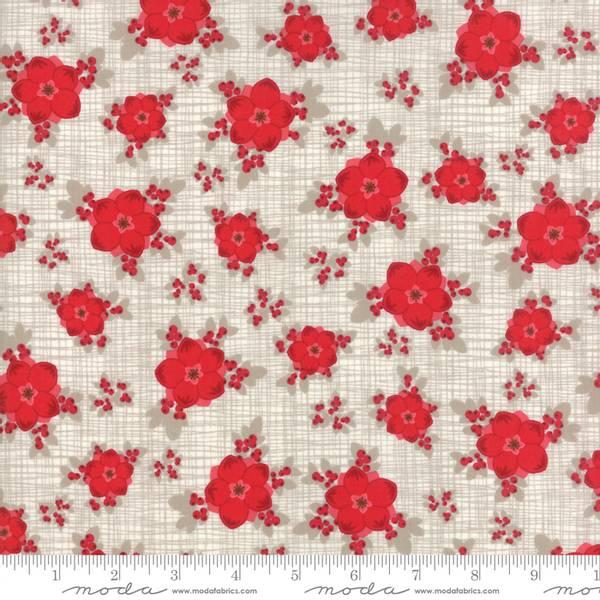 Bilde av Return to Winter's Lane - 2-3 cm røde juleblomster på sand rutem