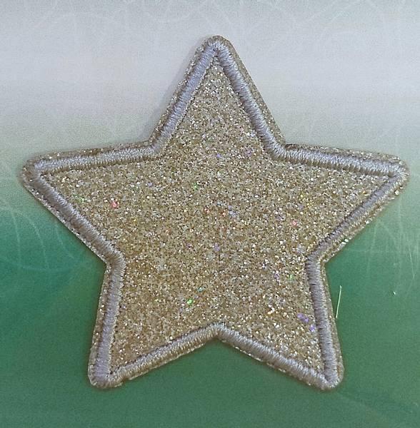 Bilde av Symerke med lim - sølvfarget stjerne med glitter, 5 cm stor