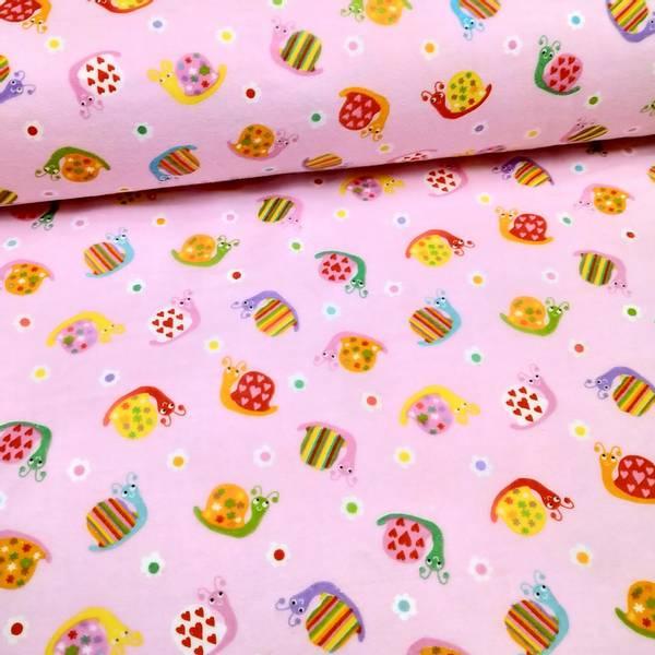 Bilde av Flanell - 4 cm snegler på rosa