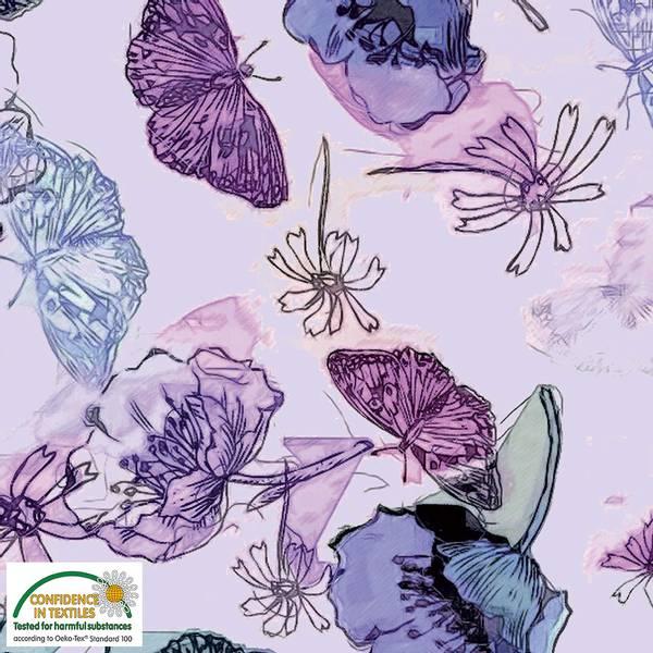 Bilde av Avalana bomullsjersey - 10 cm sommerfugl på lyslilla