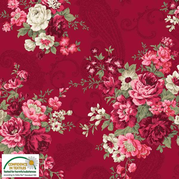 Bilde av Avalana bomullsjersey - 10-18 cm blomsterbukett på burgunder