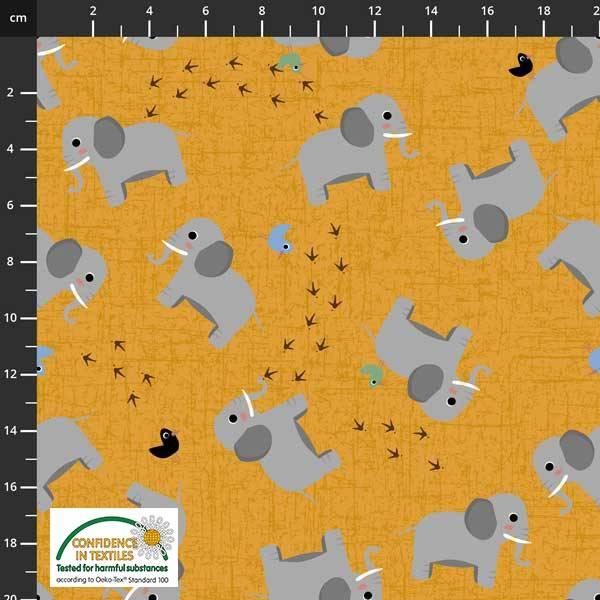 Bilde av Avalana bomullsjersey - 5 cm grå elefant på oransje