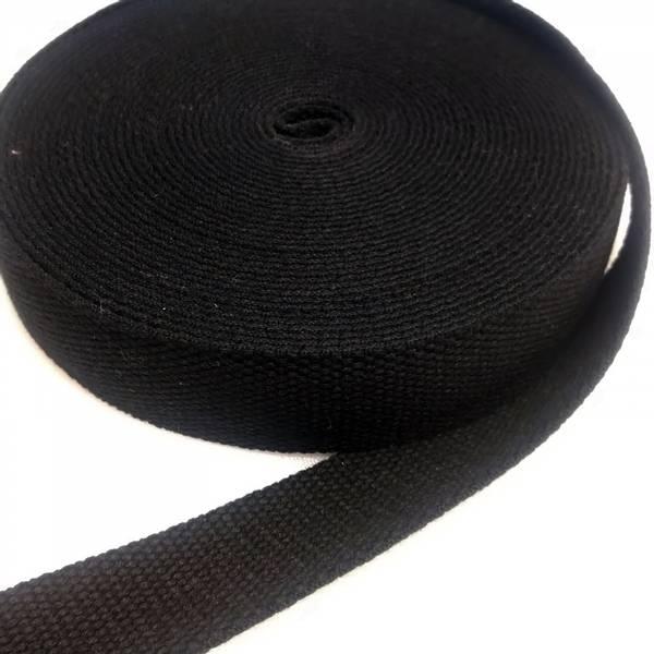 Bilde av Bomullswebbing - sort 3,2 cm bred bånd