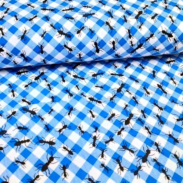 Bilde av Flanell - blå-hvit rutete m 2-4 cm maur