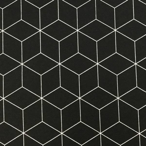 Bilde av Ottoman trykt, sort kubemønstret, 3 cm diamant