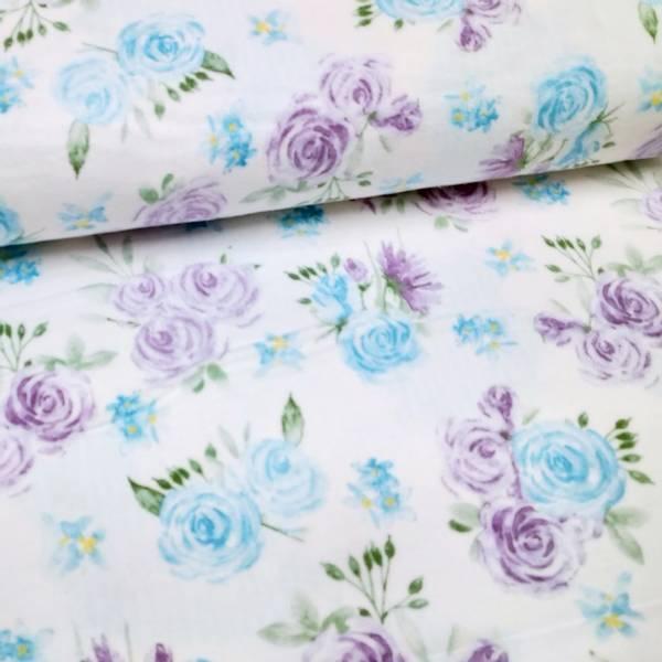 Bilde av Flanell - 5 cm blå & lilla blomsterhoder på hvit