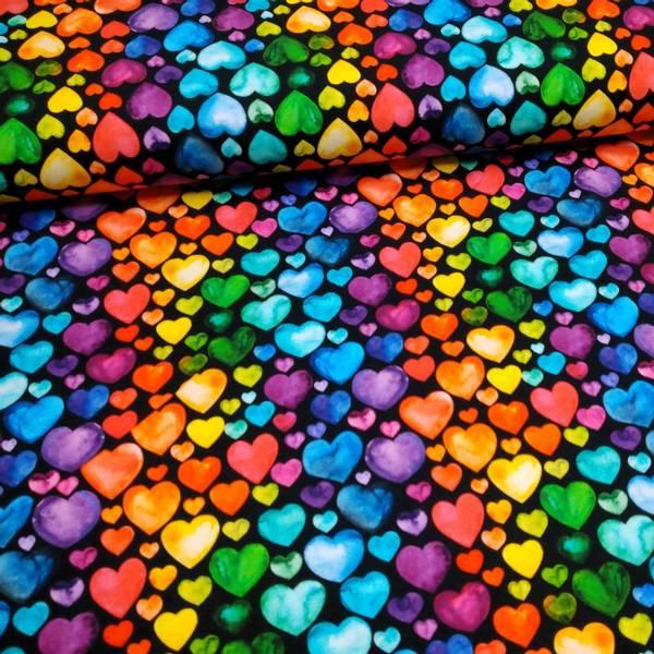 Bilde av Bomullsjersey - 1-3 cm regnbuehjerter på sort