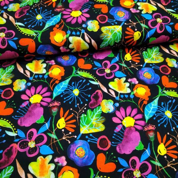 Bilde av Bomullsjersey - regnbue blomster på sort