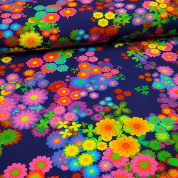 Bilde av Bomullsjersey - retro regnbueblomster på lilla