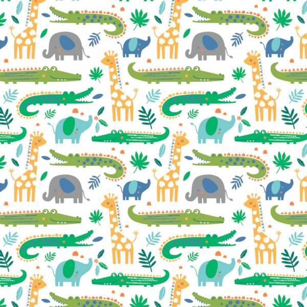 Bilde av Flanell - 7-9 cm krokodiller på hvit, sjiraff, elefant