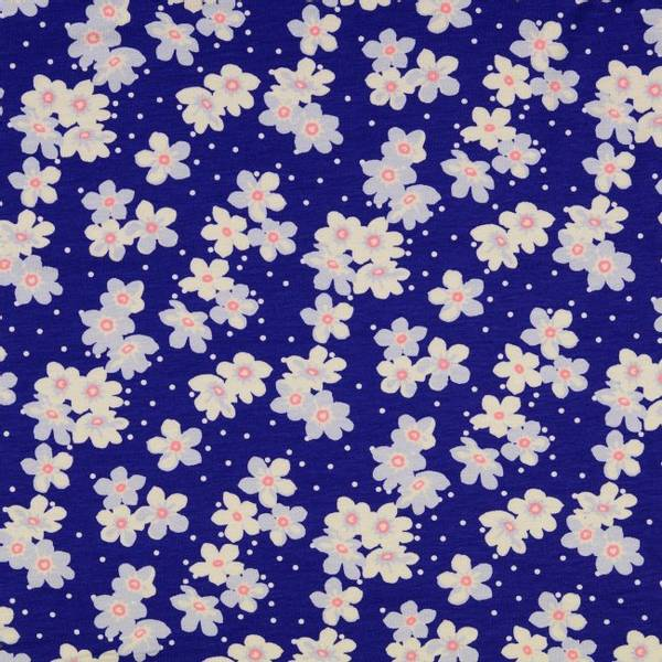 Bilde av 1,4 m Viskosejersey - 4 cm blomst på blå