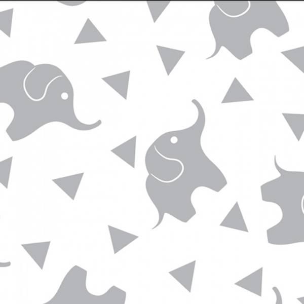 Bilde av Flanell - 3 cm grå elefant på hvit
