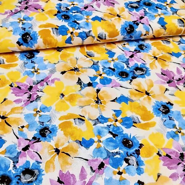 Bilde av Lin-viskose, 5-8 cm blå, gul, lilla blomster