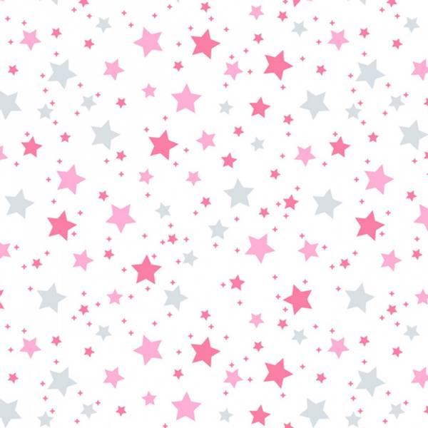 Bilde av Flanell - 3-10 mm rosa & grå stjerner på hvit