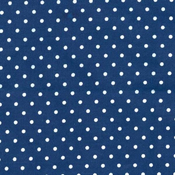 Bilde av Flanell - 3 mm hvite prikker på mørkblå
