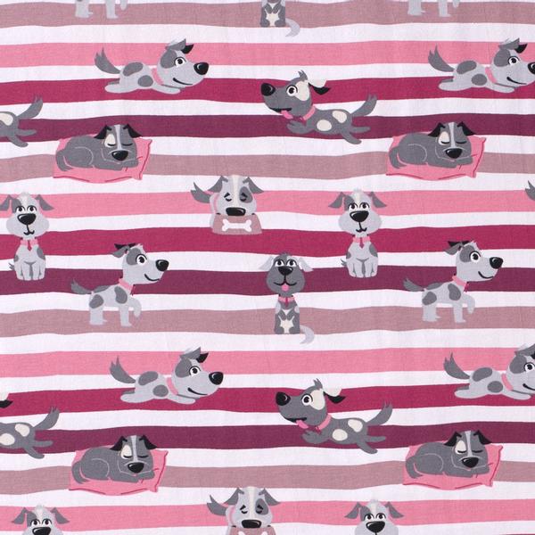 Bilde av Bomullsjersey - ca 6 cm hund, rosa 15 mm striper
