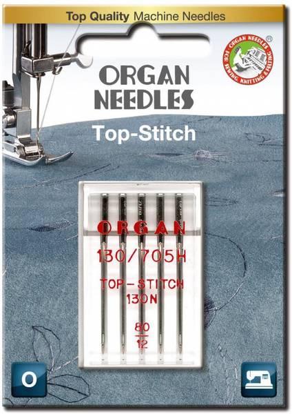 Bilde av Organ symaskinnål - 5 st., Top Stitch, topstitch 80/12