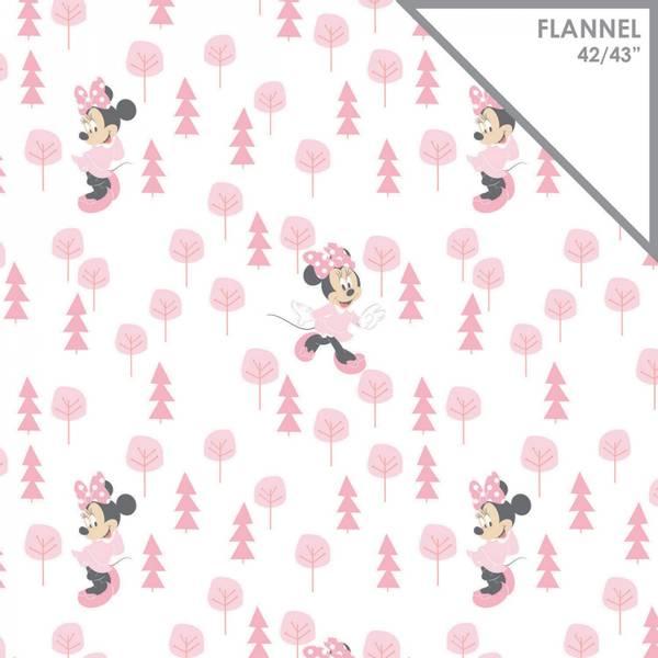 Bilde av Flanell - ca 5 cm rosa Minny Mus på offwhite