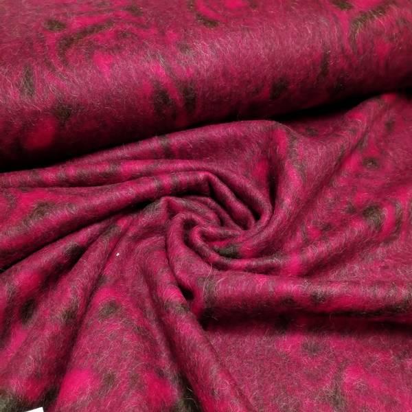 Bilde av Tovet strikket ull - mørk sterk rosa-mørkgrå mønstret