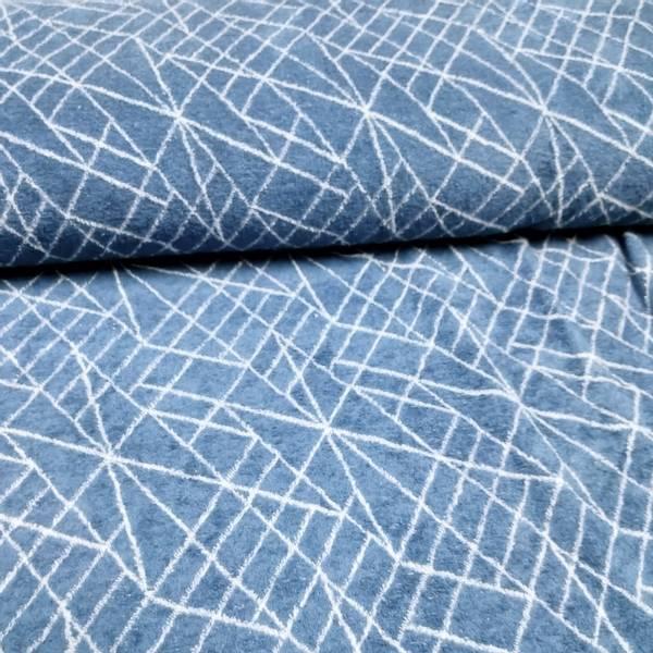 Bilde av Stretchfrotté - dusblå m hvite streker