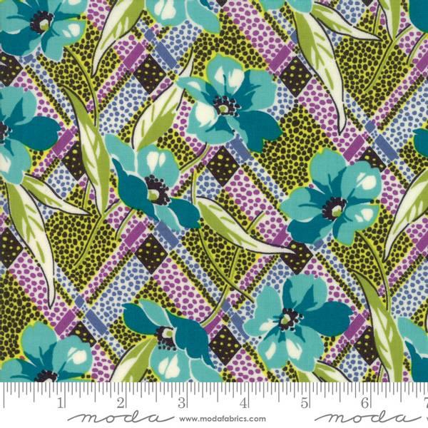 Bilde av Remix - 5 cm blomsterhoder på lime-lilla-sort retromønster