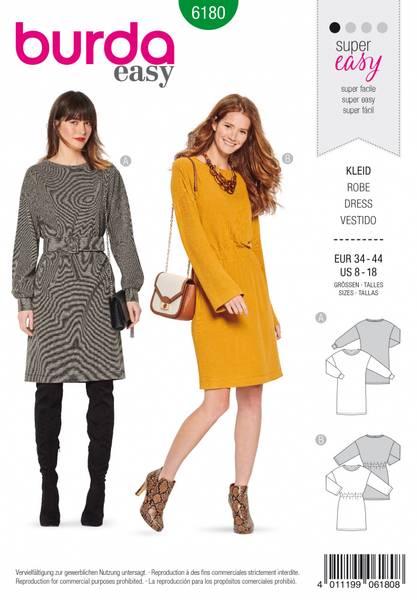 Bilde av 6180 - Burda - enkel kjole til stretchstoff