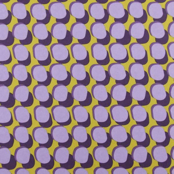 Bilde av Canvas m PVC-coating, 3 cm retrodot, lilla-oker