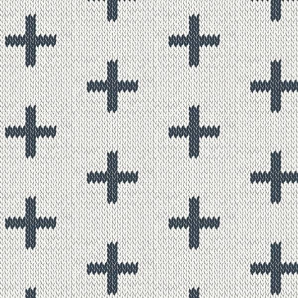 Bilde av Hooked - 3,5 cm marine heklet kryss på hvit