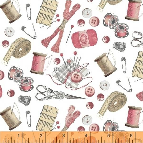Bilde av 35 cm A Stitch in Time - 1-6 cm rosa sytilbehør på offwhite