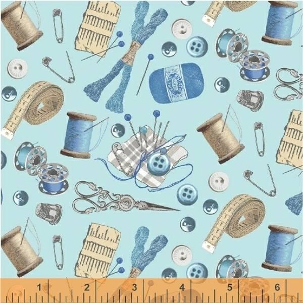 Bilde av A Stitch in Time - 1-6 cm blå sytilbehør på lysblå
