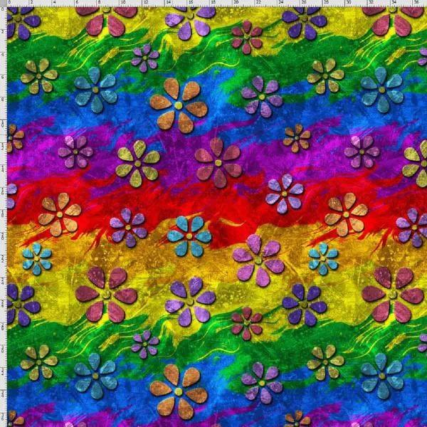 Bilde av Bomullsjersey - 3-6 cm blomster på regnbue