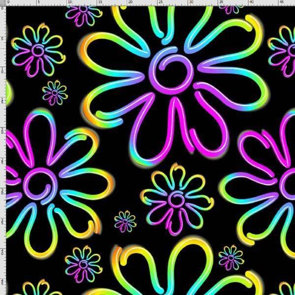 Bilde av Bomullsjersey - 3-30 cm regnbueblomst på sort