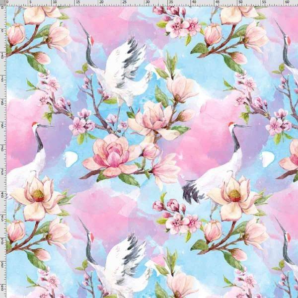 Bilde av Bomullsjersey - 15 cm rosa akvarellblomst m fugl