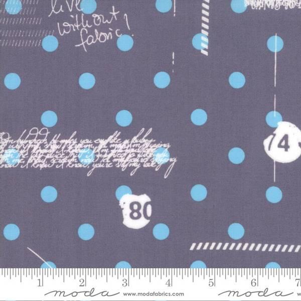 Bilde av Hey Dot - 1 cm lysblå prikker på grå - med skrift