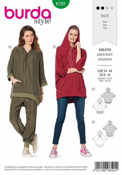 Bilde av 6191 - Burda - hoodie/ sweater oversize