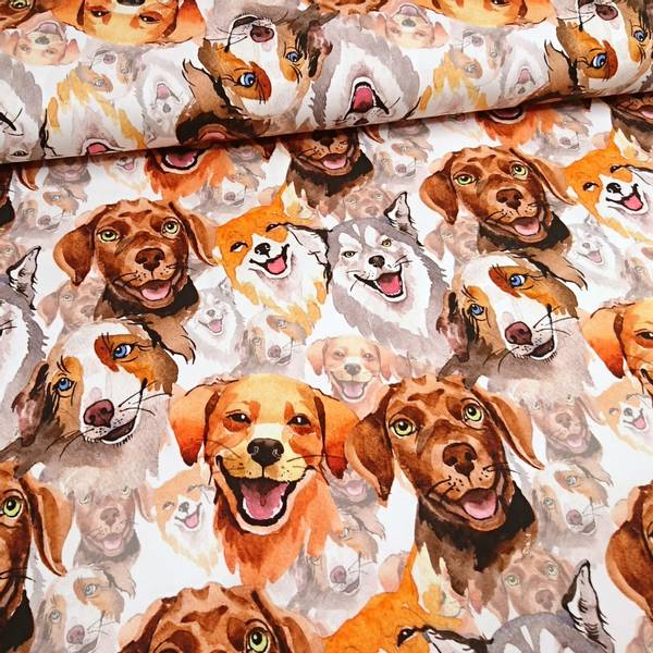 Bilde av Bomullsjersey - 5-12 cm akvarell hundehoder