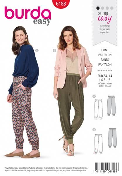 Bilde av 6188 - Burda - løssittende bukse m lommer