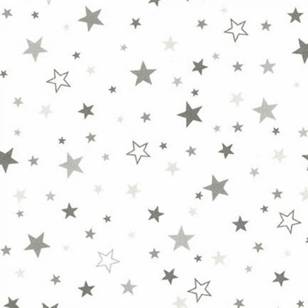 Bilde av Flanell - Grå 5-20 mm stjerner på hvit