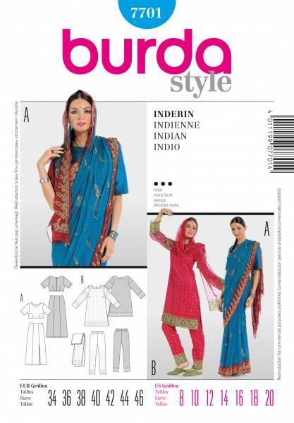 Bilde av 7701 - Burda - Indisk, sari - bukse, overdel, sjal