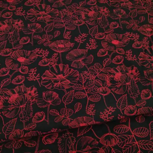 Bilde av Bomullsjersey - 6 cm blomsterhoder, rød-sort