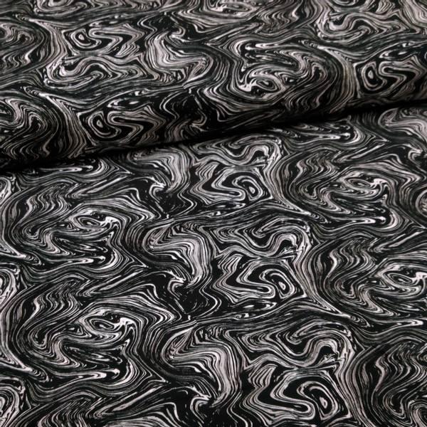 Bilde av Bomullsjersey - hvit-sort strukturmønster