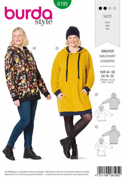 Bilde av 6195 - Burda - sweater/ lang hoodie