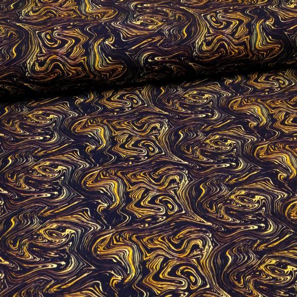 Bilde av Bomullsjersey - okergul-sort strukturmønster