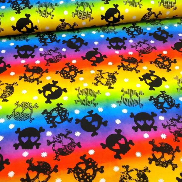Bilde av Bomullsjersey - 5 cm hodeskaller på regnbue