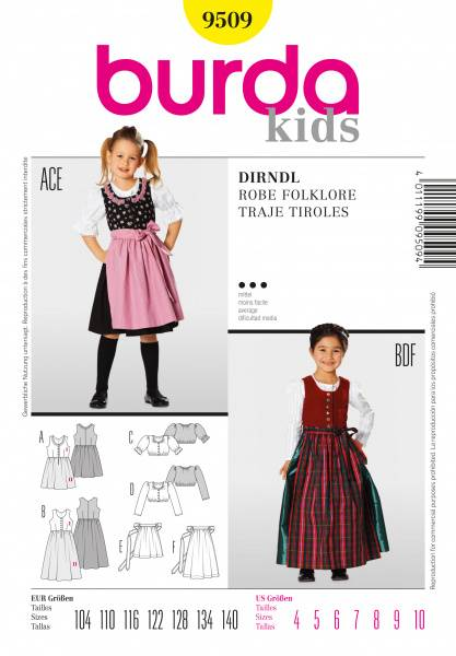 Bilde av 9509 - Burda - Kjole og forkle kostyme