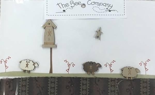 Bilde av The Bee Company - 3 sauer, fuglehus og stjerner, knapper