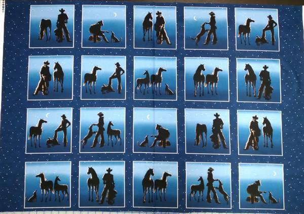 Bilde av Panel - hest & cowboy - 75 cm, ca 15 cm bilder