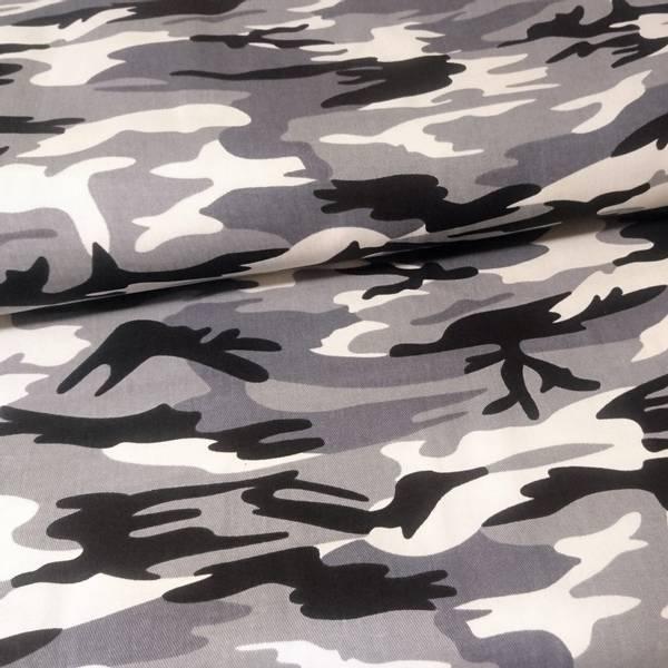 Bilde av Army Twill - camouflage grå sort, ca 10 cm flekkete