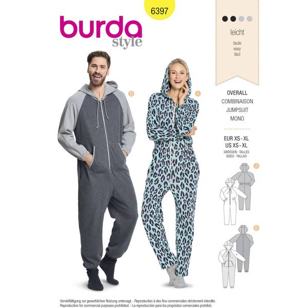 Bilde av 6397 - Burda - Onepiece, jumpsuit dame/herre