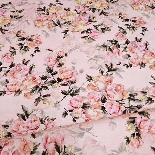 Bilde av Bomullsjersey - 15 cm rosa blomster på rosa